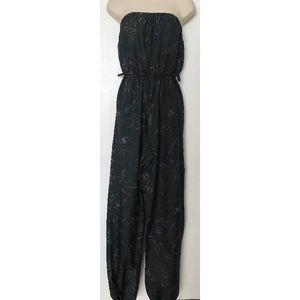 Pants - Black Strapless Leafy Jumpsuit